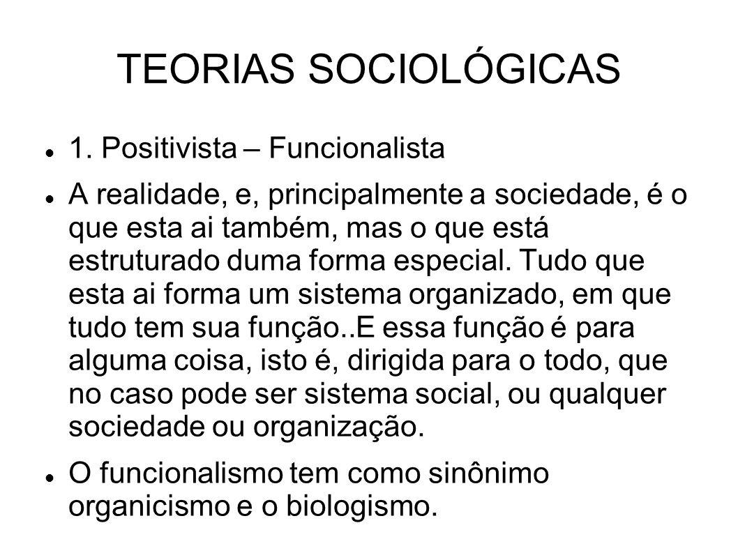 TEORIAS SOCIOLÓGICAS 1. Positivista – Funcionalista