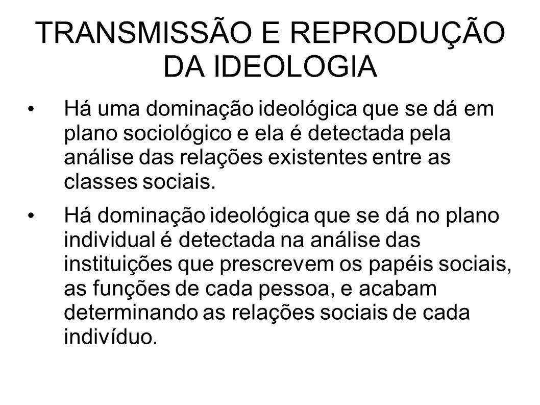 TRANSMISSÃO E REPRODUÇÃO DA IDEOLOGIA