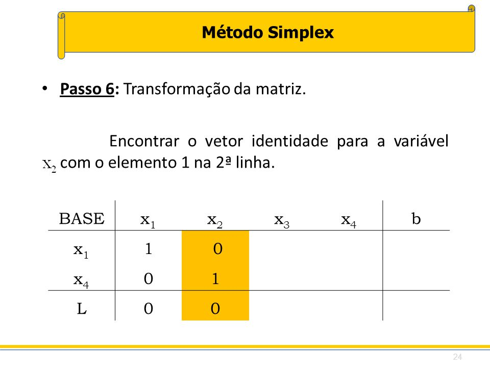 Passo 6: Transformação da matriz.
