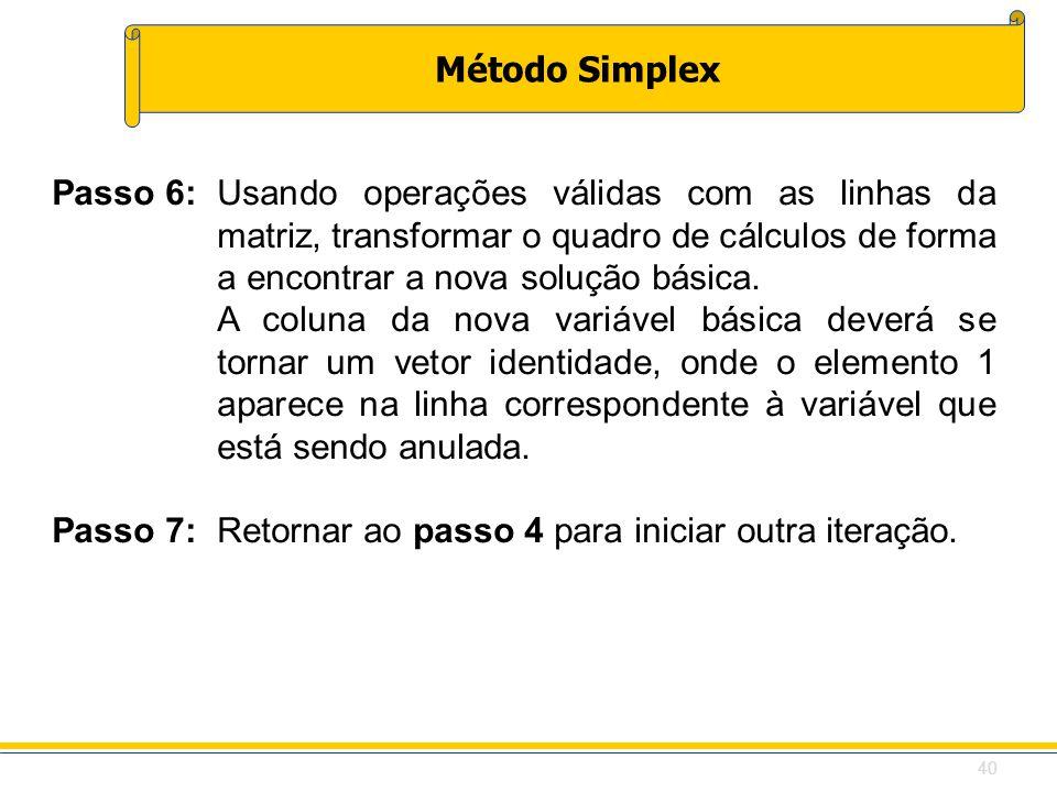 Passo 7: Retornar ao passo 4 para iniciar outra iteração.
