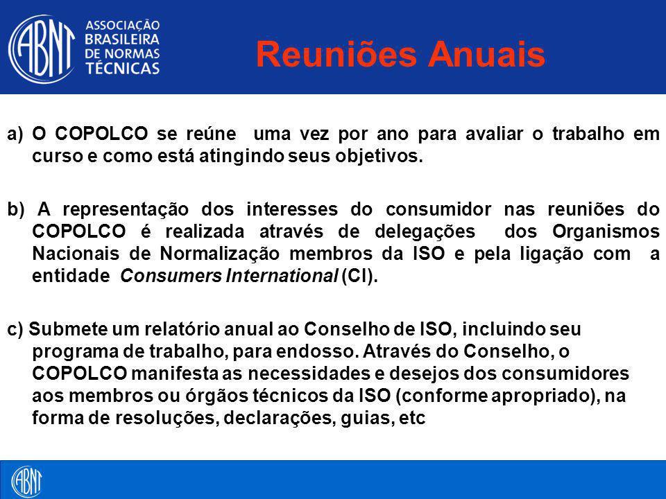Reuniões Anuais a) O COPOLCO se reúne uma vez por ano para avaliar o trabalho em curso e como está atingindo seus objetivos.