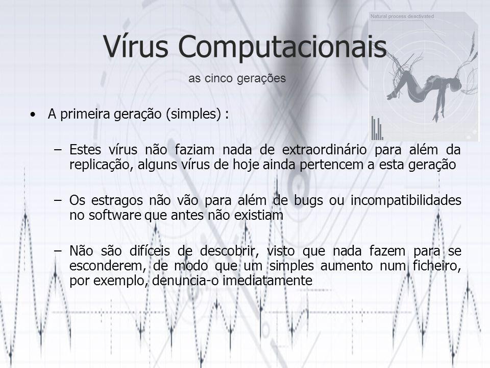 Vírus Computacionais A primeira geração (simples) :