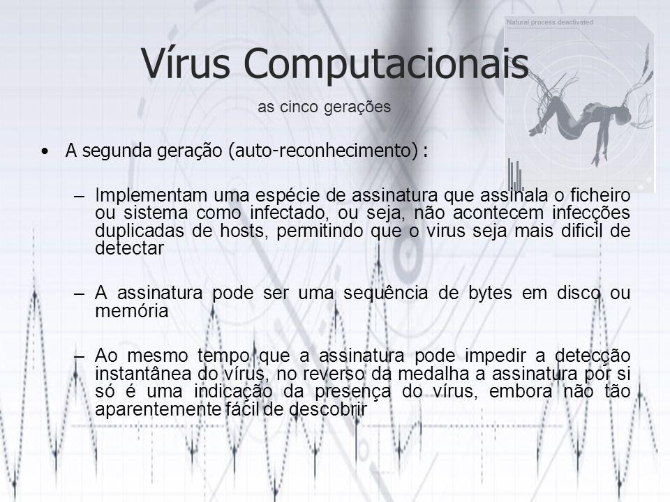 Vírus Computacionais A segunda geração (auto-reconhecimento) :