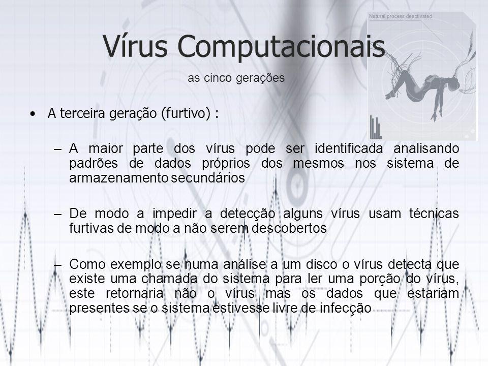 Vírus Computacionais A terceira geração (furtivo) :