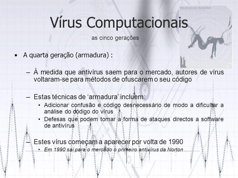 Vírus Computacionais A quarta geração (armadura) :