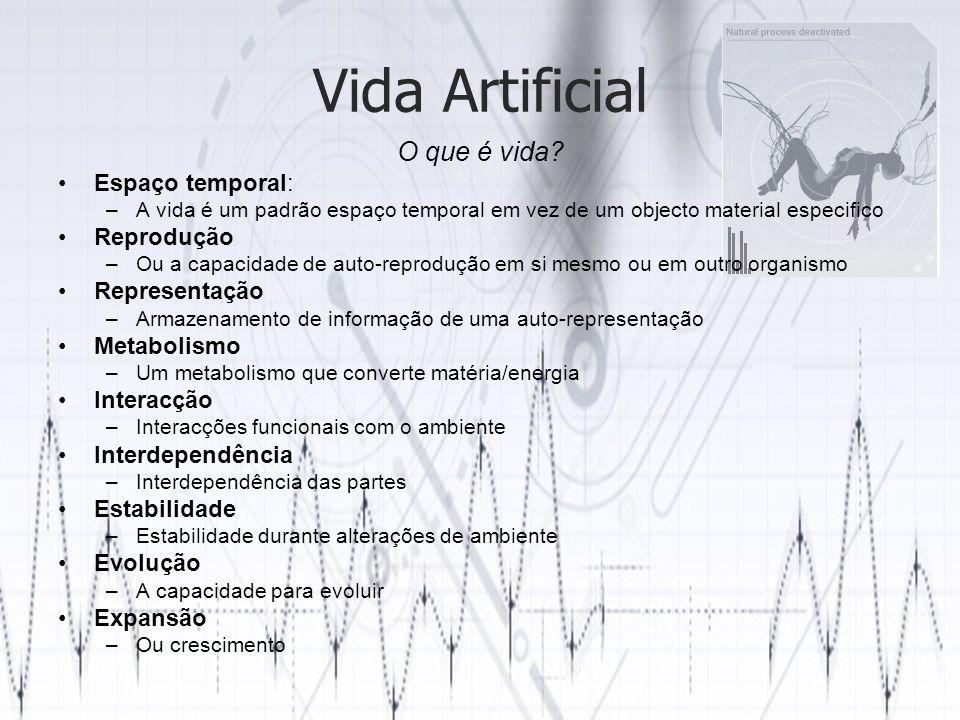 Vida Artificial O que é vida Espaço temporal: Reprodução