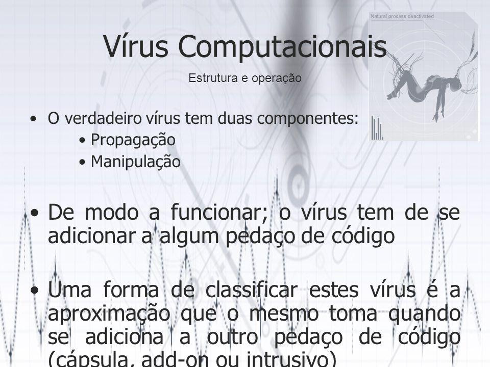 Vírus Computacionais O verdadeiro vírus tem duas componentes: