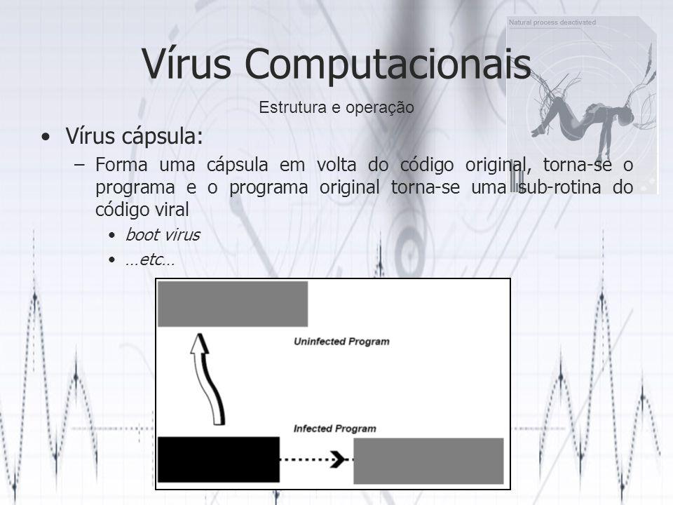 Vírus Computacionais Vírus cápsula: