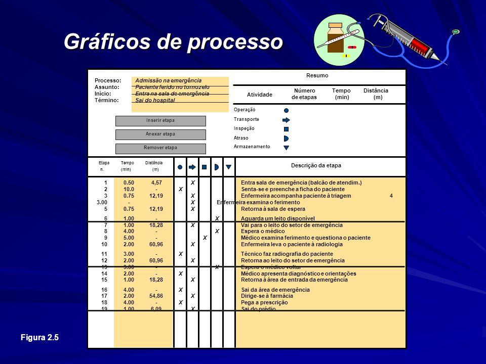 Gráficos de processo Resumo. Processo: Admissão na emergência. Assunto: Paciente ferido no tornozelo.