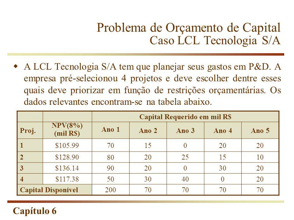 Problema de Orçamento de Capital Caso LCL Tecnologia S/A