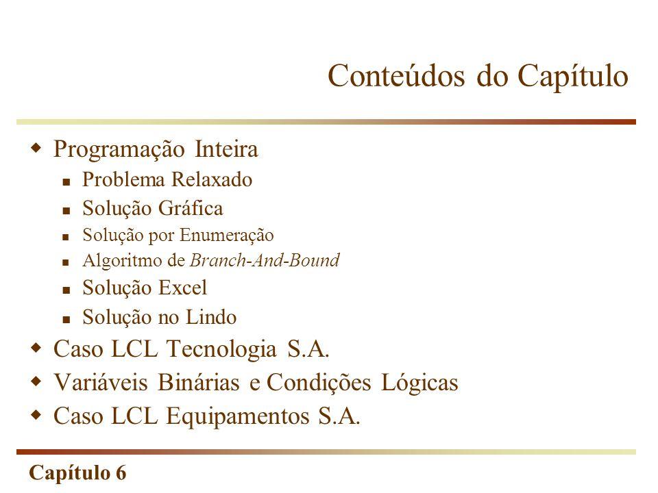 Conteúdos do Capítulo Programação Inteira Caso LCL Tecnologia S.A.