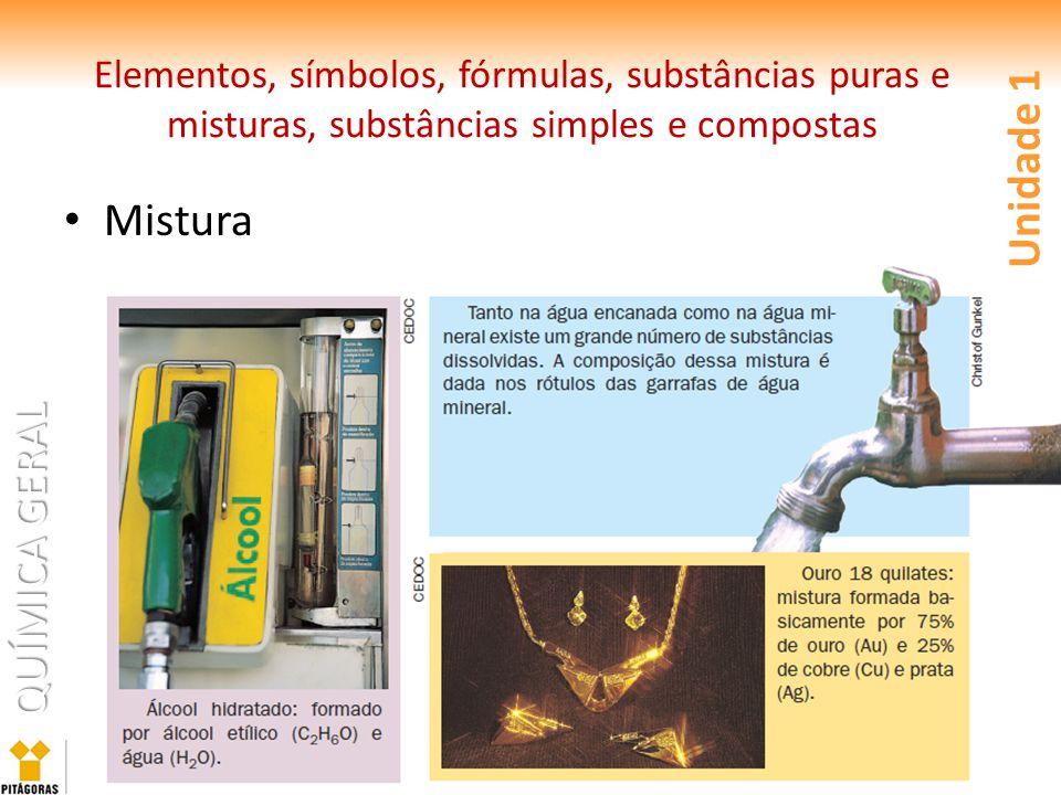 Elementos, símbolos, fórmulas, substâncias puras e misturas, substâncias simples e compostas