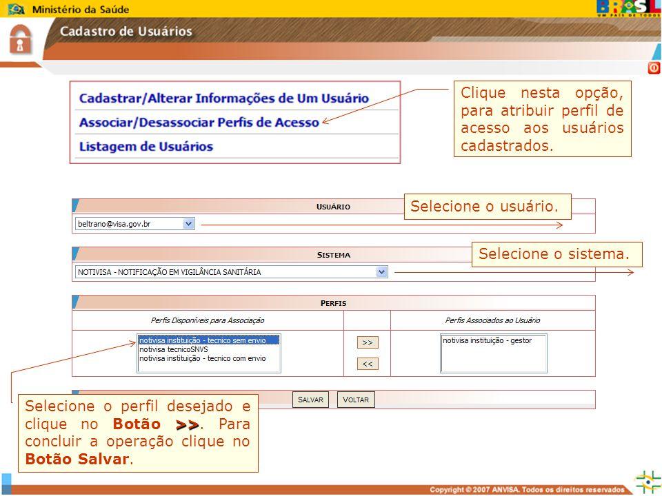 Clique nesta opção, para atribuir perfil de acesso aos usuários cadastrados.