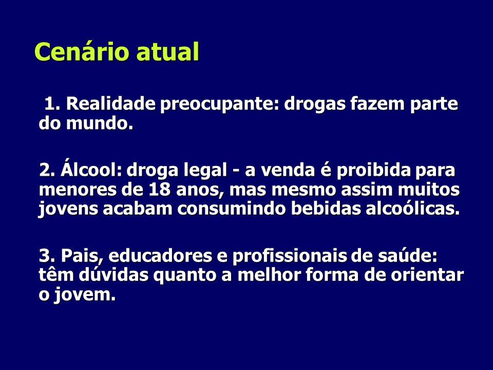 Cenário atual 1. Realidade preocupante: drogas fazem parte do mundo.