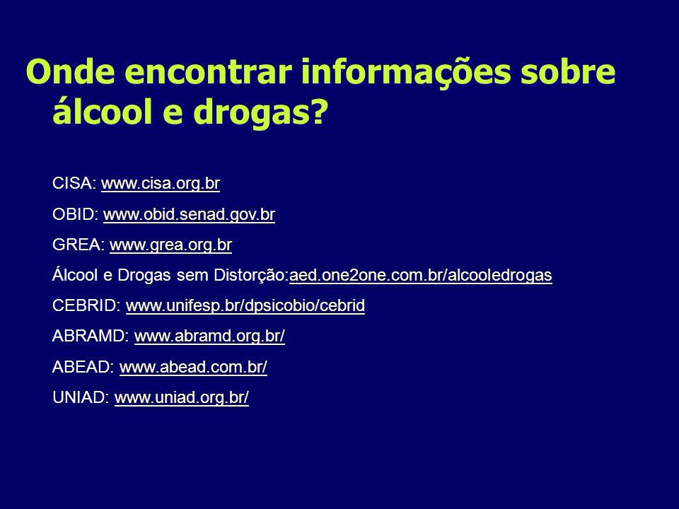 Onde encontrar informações sobre álcool e drogas
