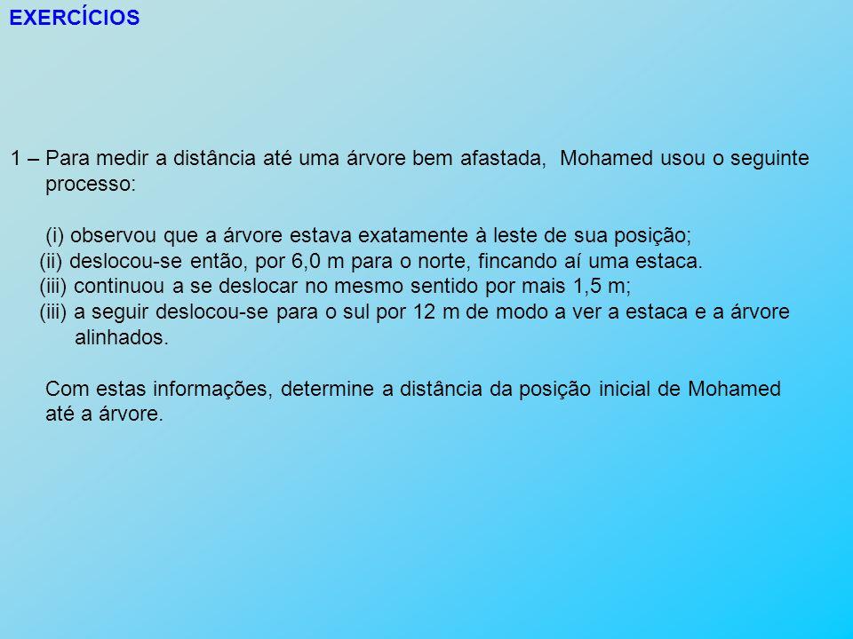 EXERCÍCIOS 1 – Para medir a distância até uma árvore bem afastada, Mohamed usou o seguinte. processo: