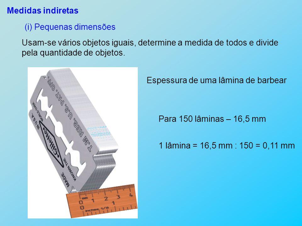 Medidas indiretas (i) Pequenas dimensões. Usam-se vários objetos iguais, determine a medida de todos e divide.