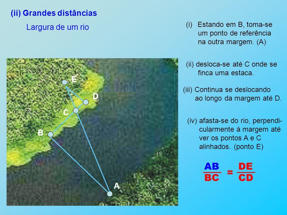 AB DE BC CD = (ii) Grandes distâncias Largura de um rio E D C B A