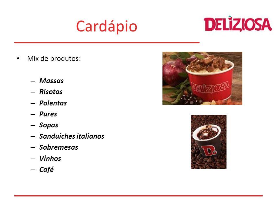 Cardápio Mix de produtos: Massas Risotos Polentas Pures Sopas