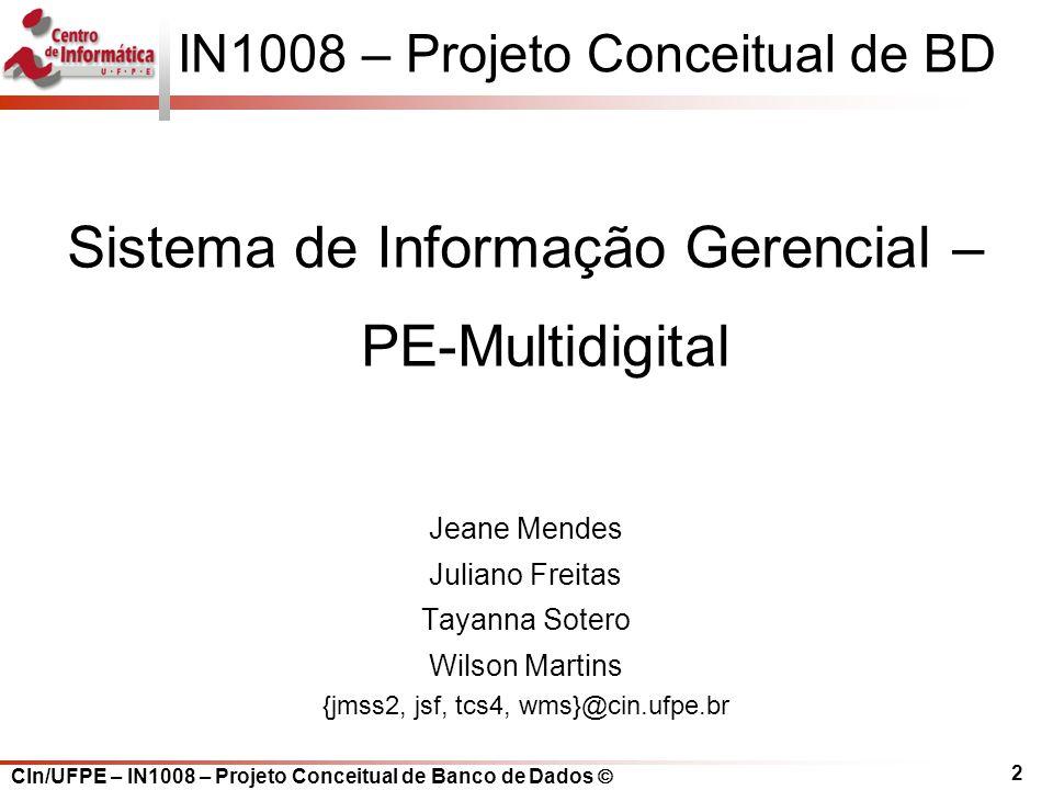 IN1008 – Projeto Conceitual de BD
