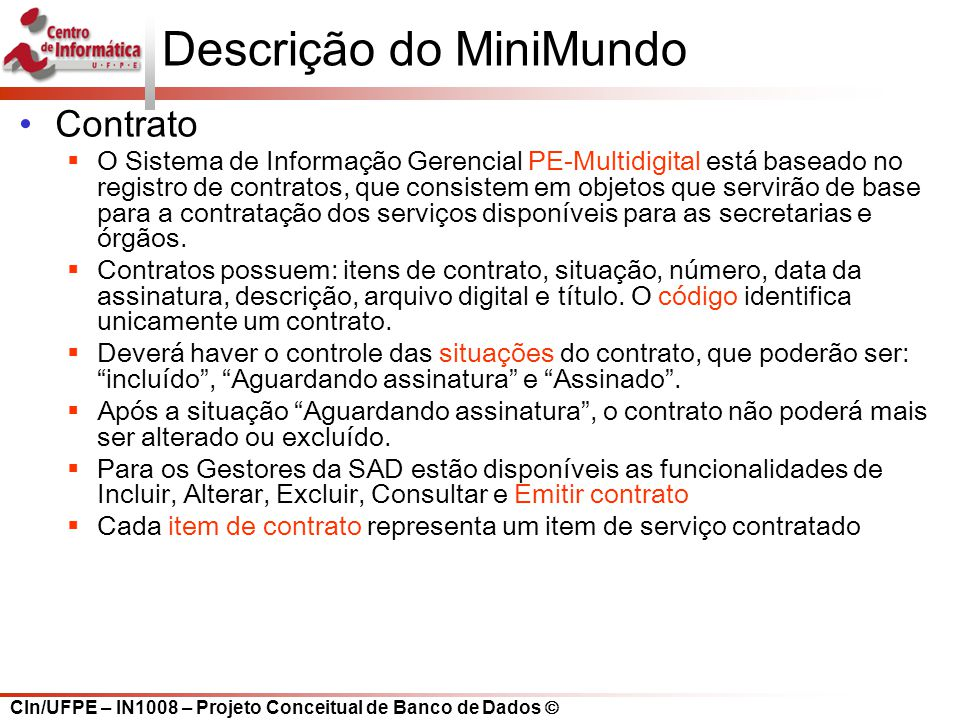 Descrição do MiniMundo