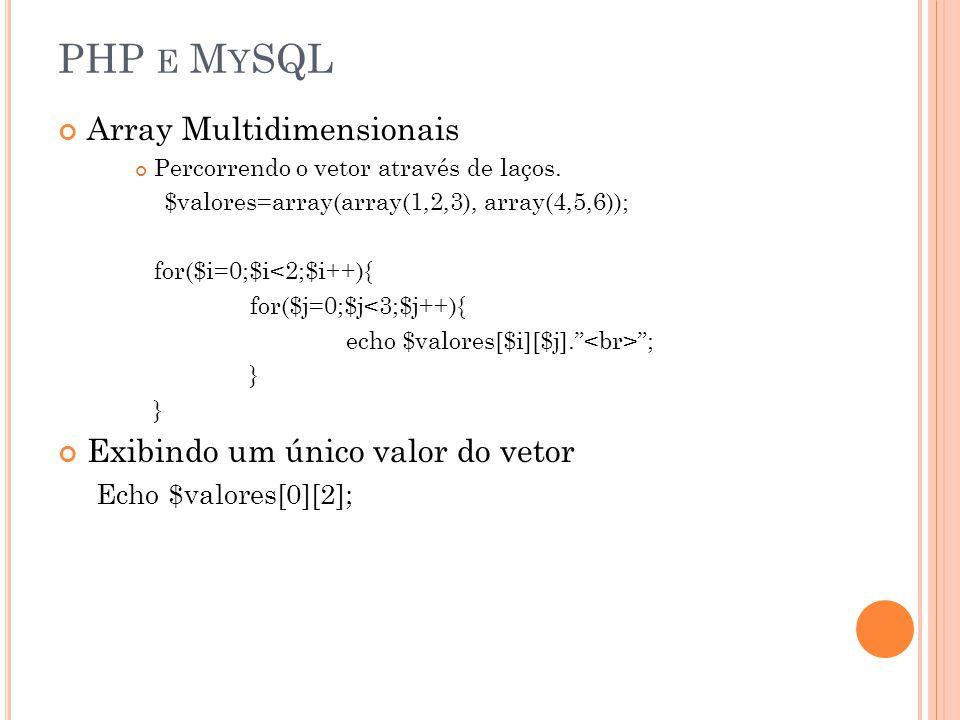 PHP e MySQL Array Multidimensionais Exibindo um único valor do vetor