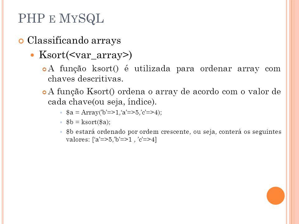 PHP e MySQL Ksort(<var_array>) Classificando arrays