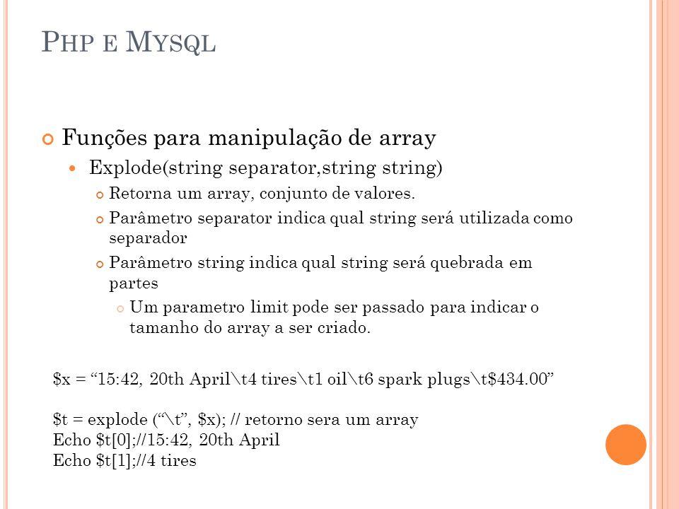 Php e Mysql Funções para manipulação de array