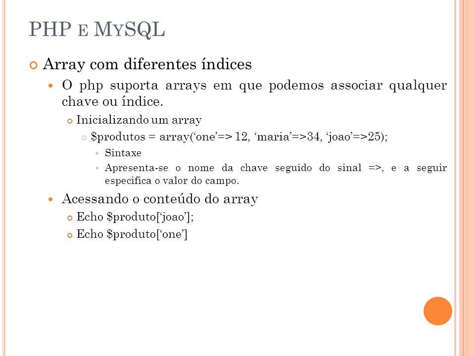 PHP e MySQL Array com diferentes índices
