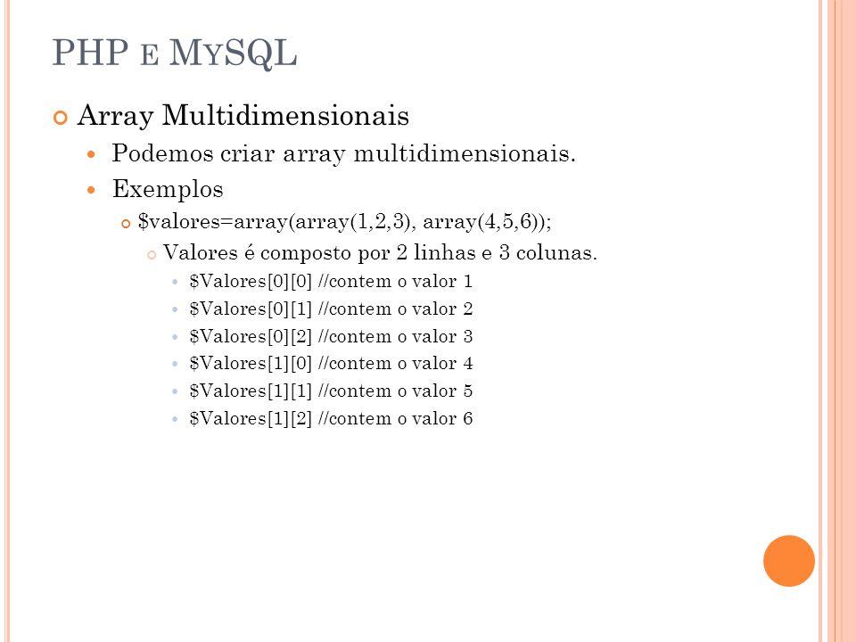 PHP e MySQL Array Multidimensionais
