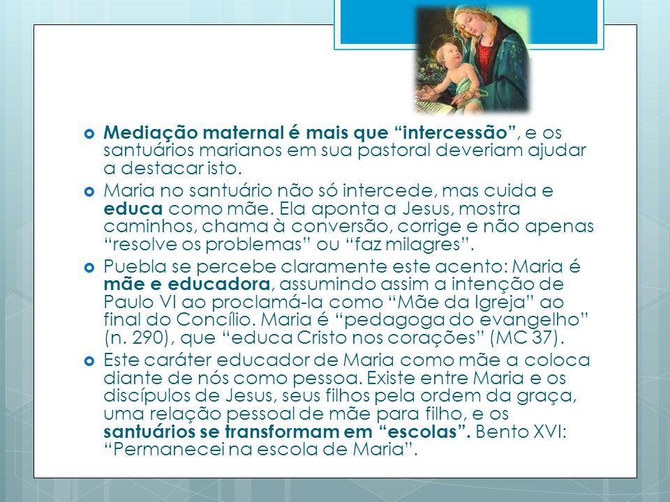 Mediação maternal é mais que intercessão , e os santuários marianos em sua pastoral deveriam ajudar a destacar isto.