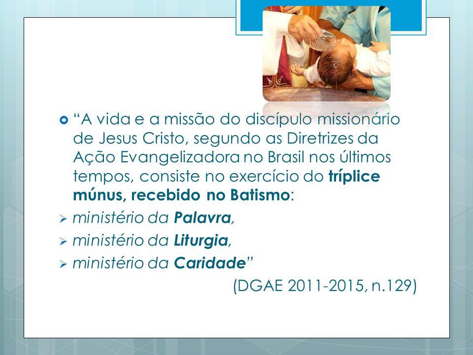 A vida e a missão do discípulo missionário de Jesus Cristo, segundo as Diretrizes da Ação Evangelizadora no Brasil nos últimos tempos, consiste no exercício do tríplice múnus, recebido no Batismo: