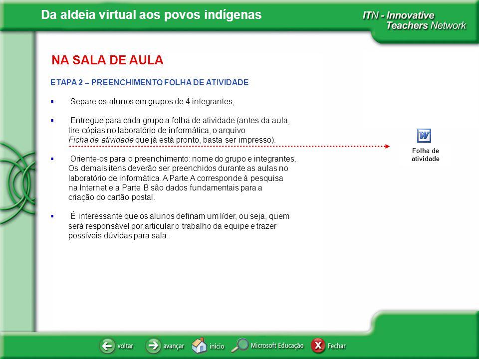 NA SALA DE AULA ETAPA 2 – PREENCHIMENTO FOLHA DE ATIVIDADE