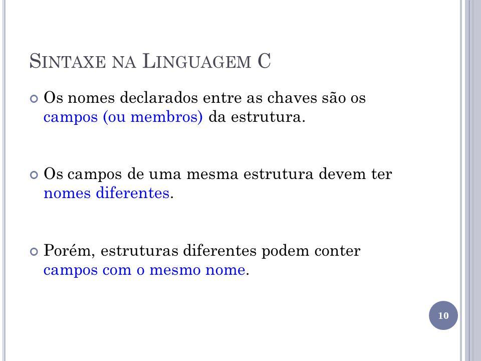 Sintaxe na Linguagem C Os nomes declarados entre as chaves são os campos (ou membros) da estrutura.