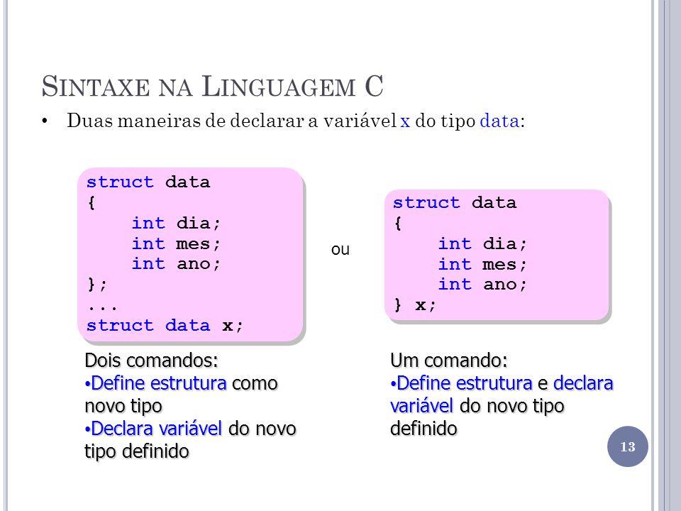 Sintaxe na Linguagem C Duas maneiras de declarar a variável x do tipo data: struct data. { int dia;