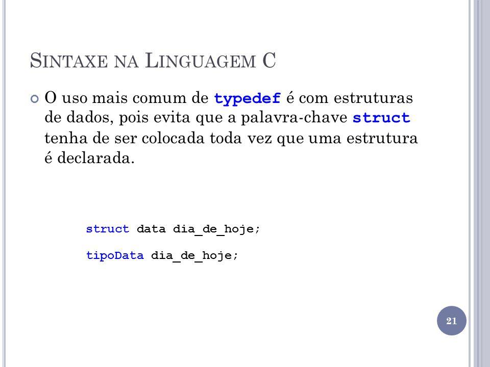 Sintaxe na Linguagem C