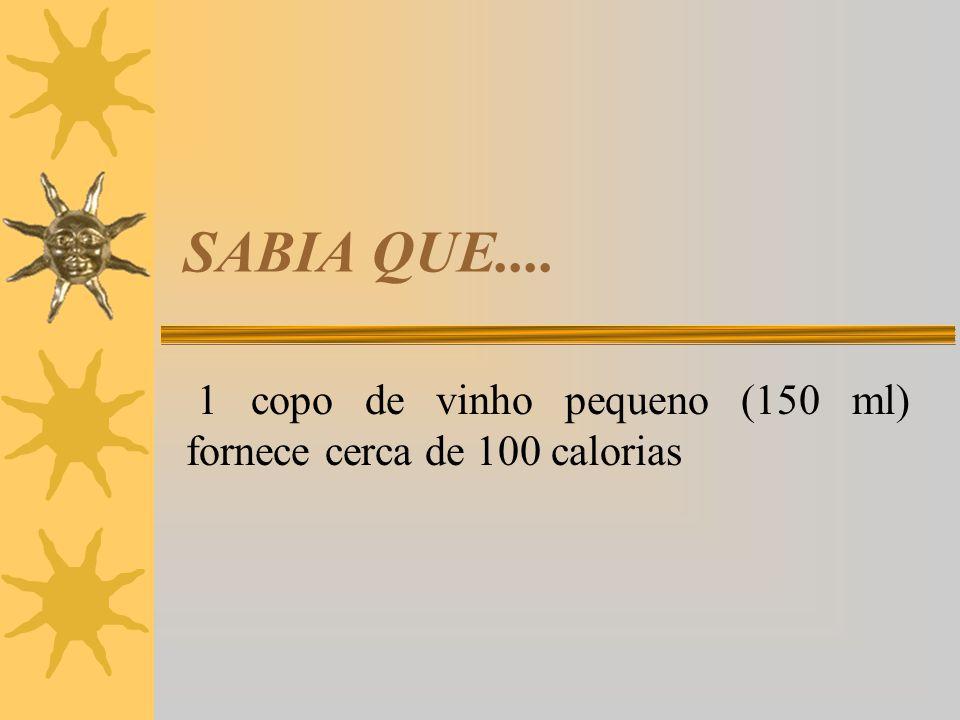 1 copo de vinho pequeno (150 ml) fornece cerca de 100 calorias