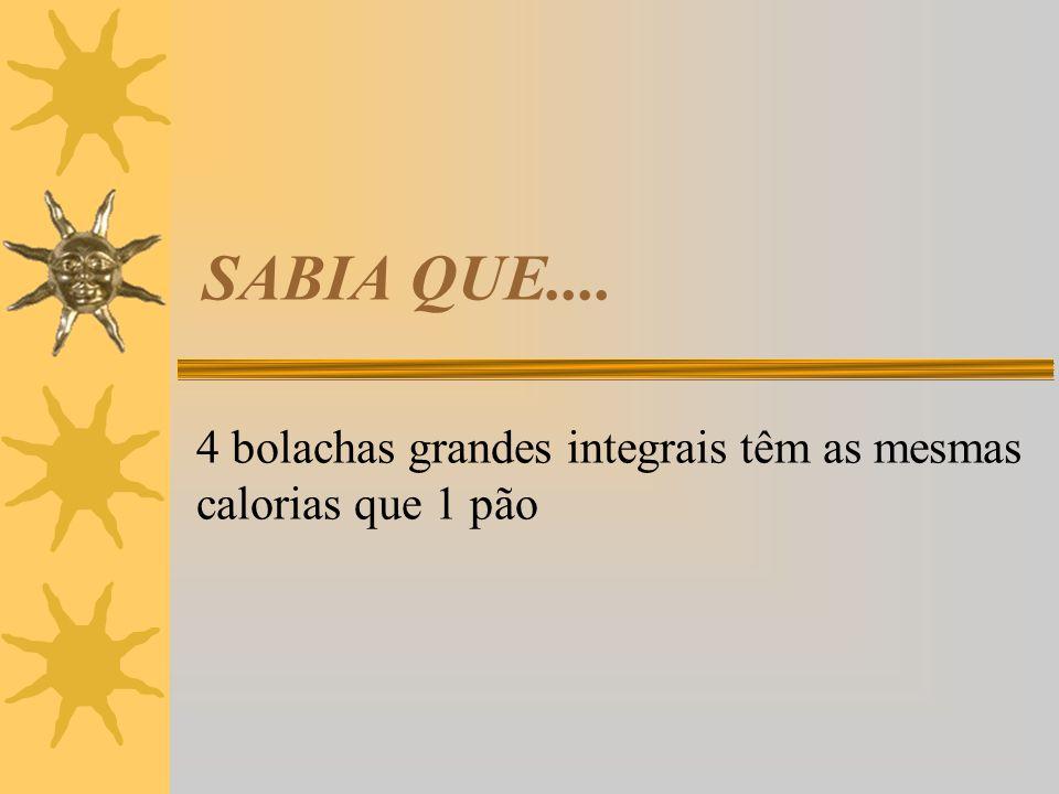 4 bolachas grandes integrais têm as mesmas calorias que 1 pão