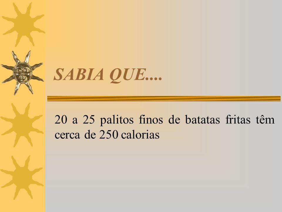 20 a 25 palitos finos de batatas fritas têm cerca de 250 calorias