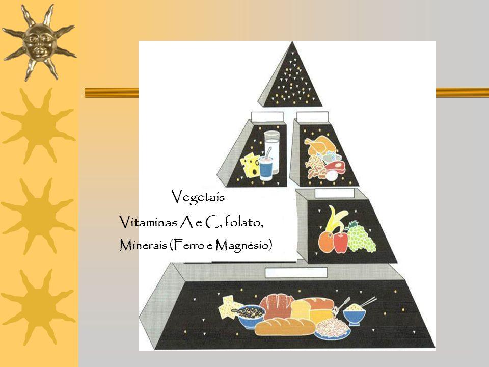 Vegetais Vitaminas A e C, folato, Minerais (Ferro e Magnésio)