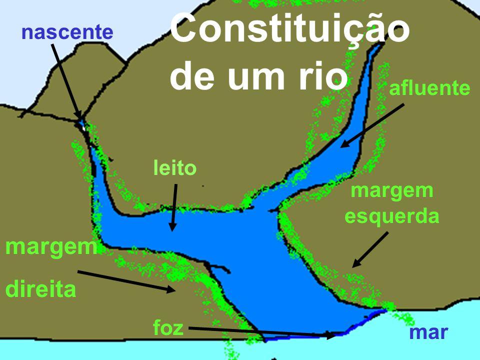 Constituição de um rio margem direita nascente afluente leito margem