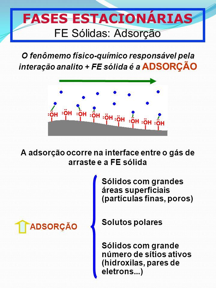 A adsorção ocorre na interface entre o gás de arraste e a FE sólida