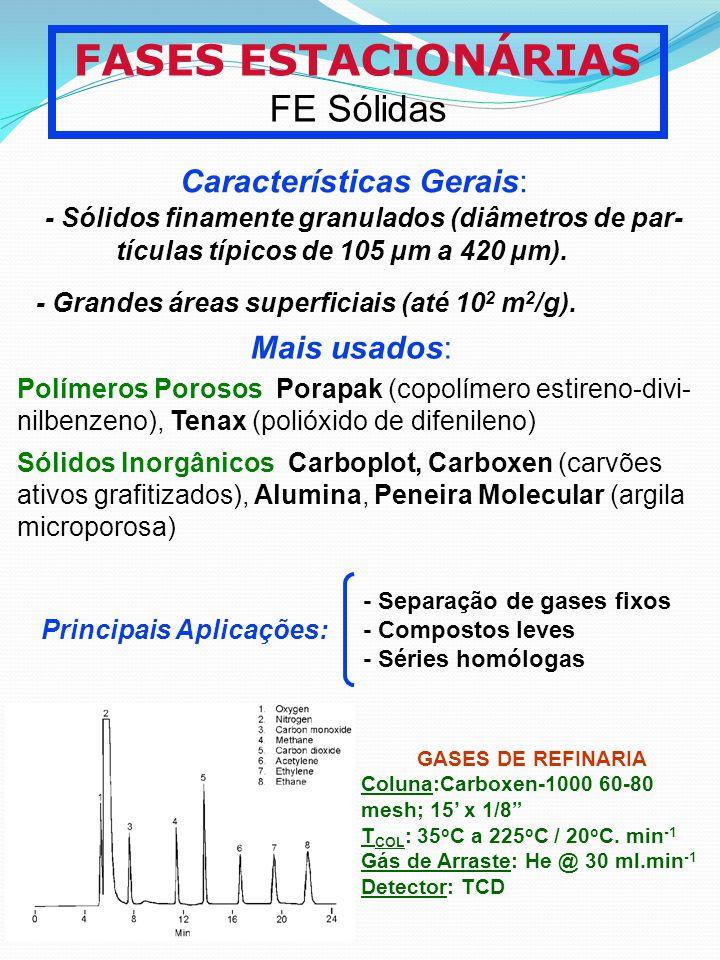 FASES ESTACIONÁRIAS FE Sólidas Características Gerais: