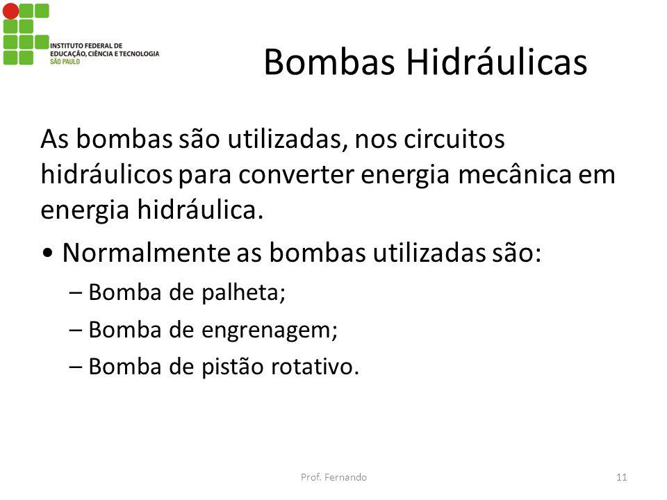 Bombas Hidráulicas As bombas são utilizadas, nos circuitos hidráulicos para converter energia mecânica em energia hidráulica.