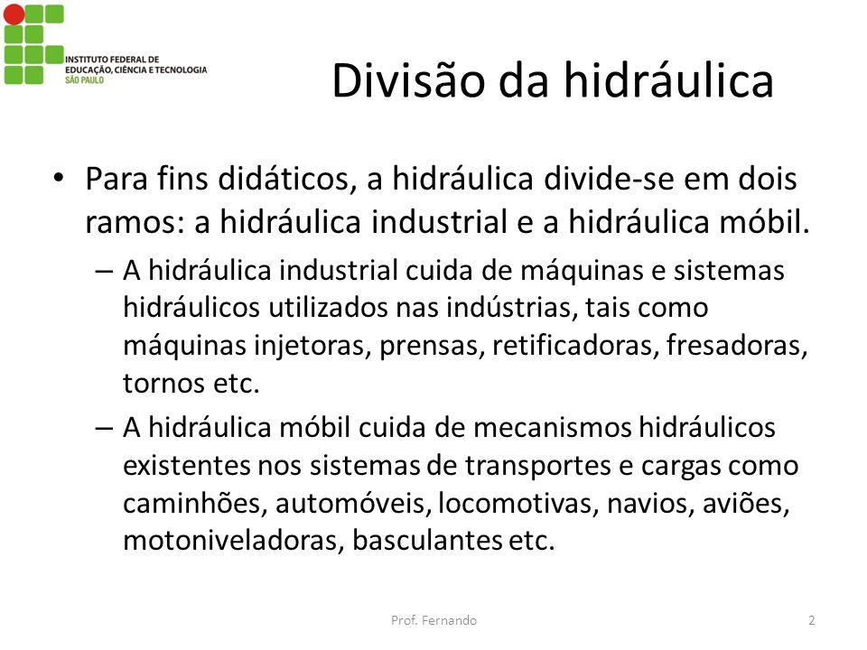 Divisão da hidráulica Para fins didáticos, a hidráulica divide-se em dois ramos: a hidráulica industrial e a hidráulica móbil.