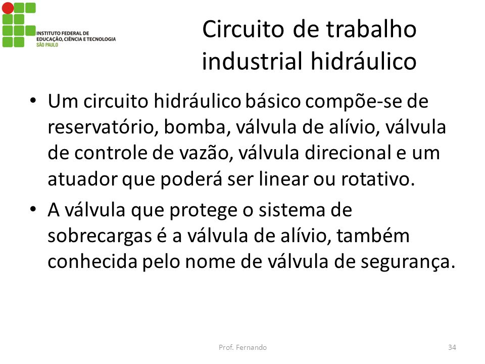 Circuito de trabalho industrial hidráulico