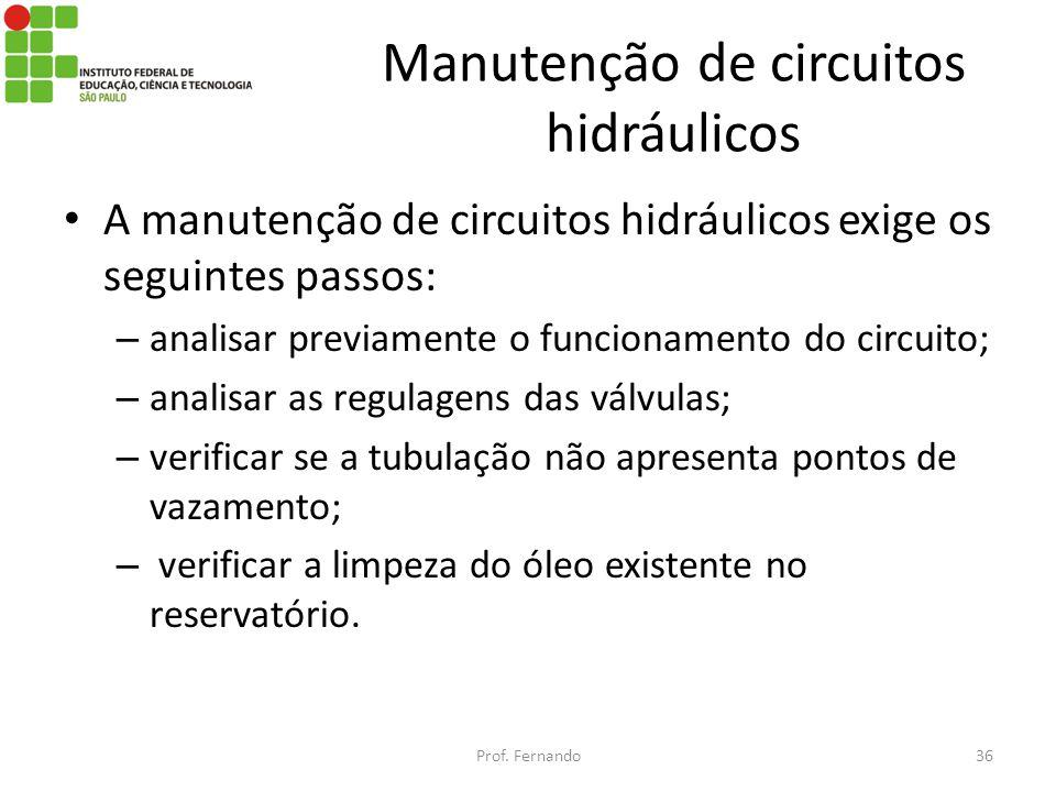 Manutenção de circuitos hidráulicos