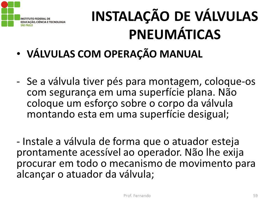 INSTALAÇÃO DE VÁLVULAS PNEUMÁTICAS