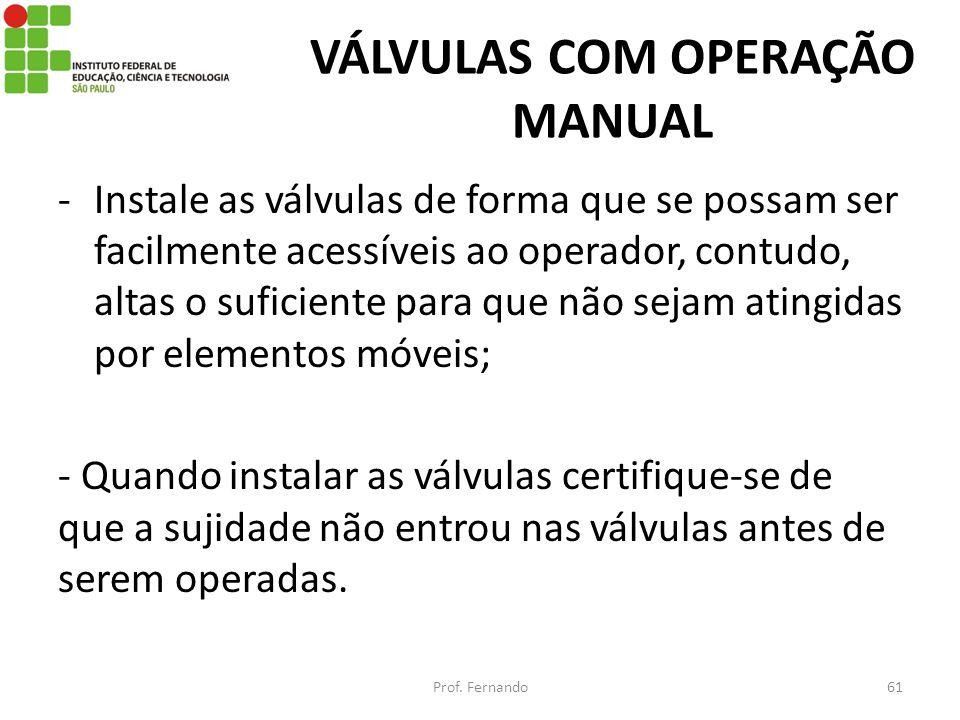 VÁLVULAS COM OPERAÇÃO MANUAL