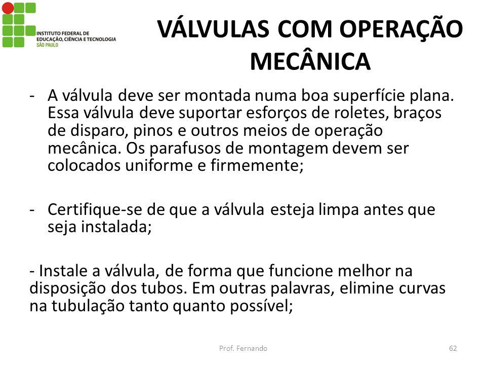 VÁLVULAS COM OPERAÇÃO MECÂNICA